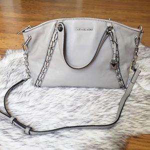 Michael Kors Grey Leather Silver Chain Crossbody